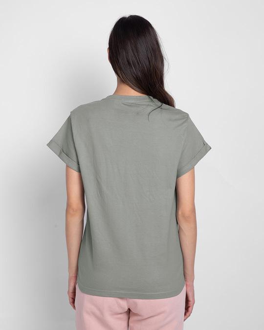 Shop Never Grow Mickey Boyfriend T-Shirts Meteor Grey (DL)-Back