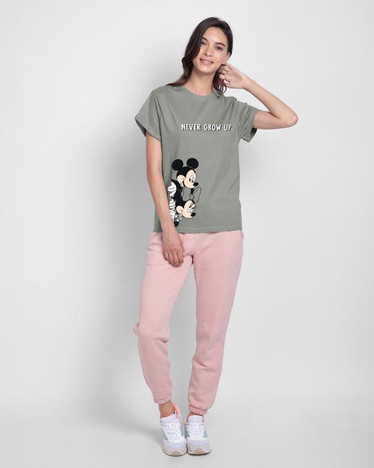 Shop Never Grow Mickey Boyfriend T-Shirts Meteor Grey (DL)-Design