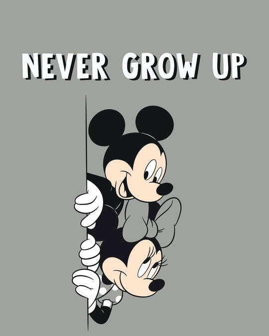Shop Never Grow Mickey Boyfriend T-Shirts Meteor Grey (DL)-Full