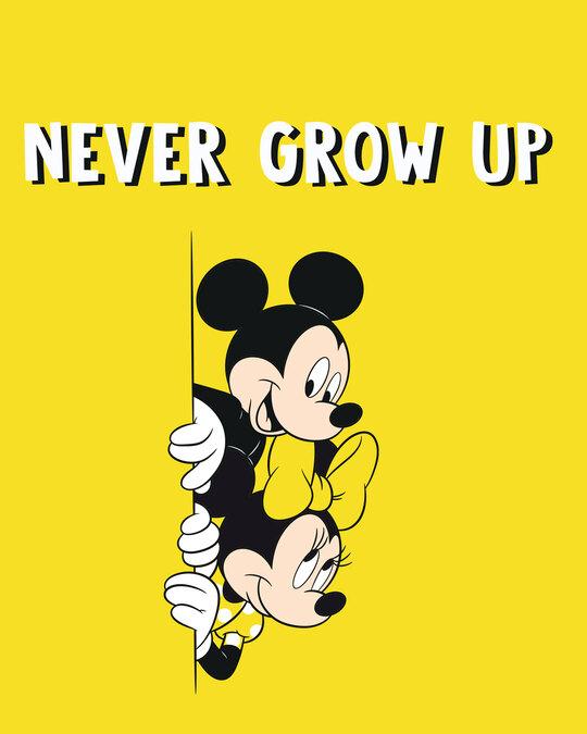 Shop Never Grow Mickey Half Sleeve Printed T-Shirt Pineapple Yellow (DL)-Full