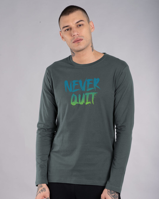 Shop Never Quit Gradient Full Sleeve T-Shirt-Front