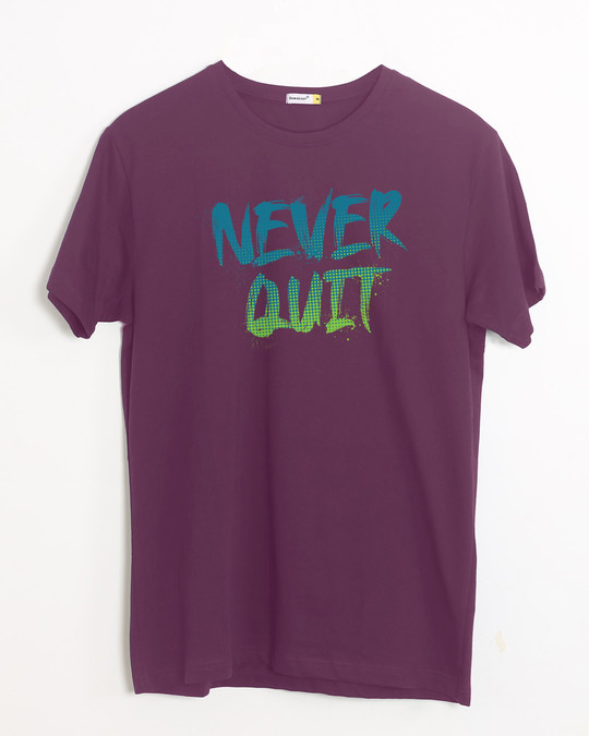 Shop Never Quit Gradient Half Sleeve T-Shirt-Front