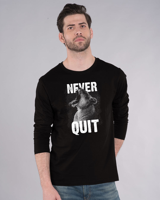 Shop Never Quit Lion Full Sleeve T-Shirt-Front