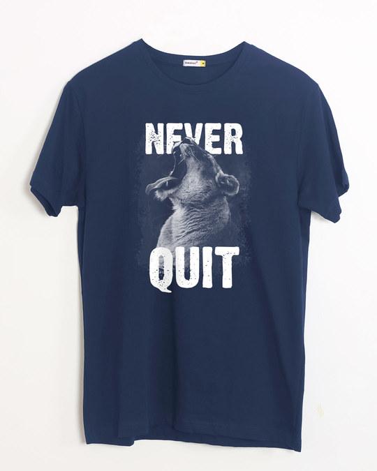 Shop Never Quit Lion Half Sleeve T-Shirt-Front