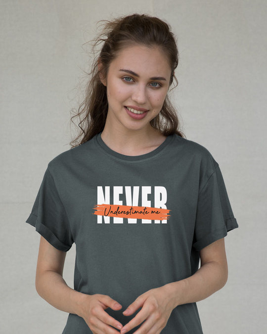 Shop Never Underestimate Me Boyfriend T-Shirt-Front