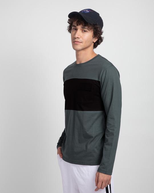 Shop Nimbus Grey & Jet Black 90's Vibe Cargo Pocket T-Shirt-Back