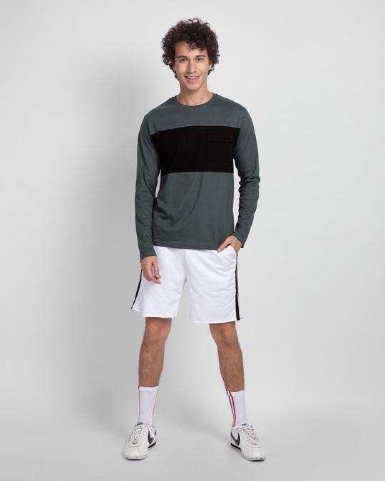 Shop Nimbus Grey & Jet Black 90's Vibe Cargo Pocket T-Shirt