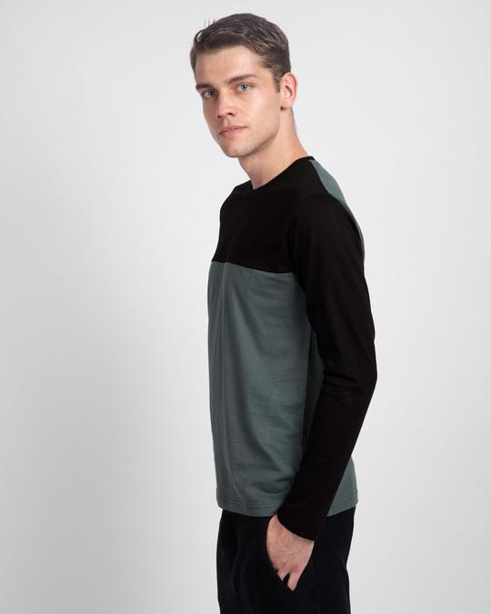 Shop Nimbus Grey & Jet Black 90's Vibe Panel T-Shirt-Back