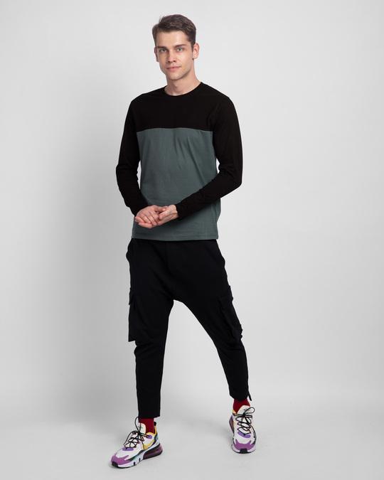 Shop Nimbus Grey & Jet Black 90's Vibe Panel T-Shirt