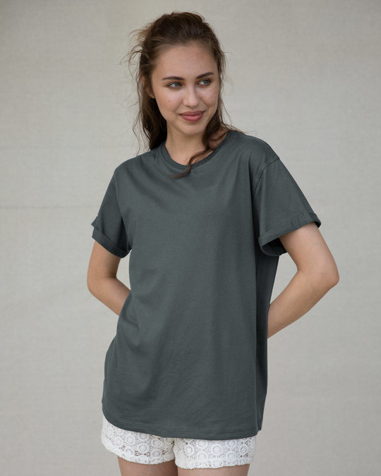 Shop Nimbus Grey Boyfriend T-Shirt-Back