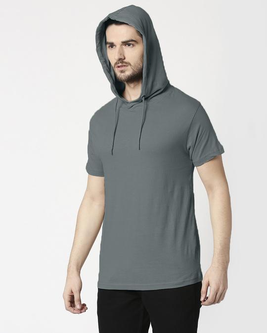 Shop Nimbus Grey Half Sleeve Hoodie T-Shirt-Back