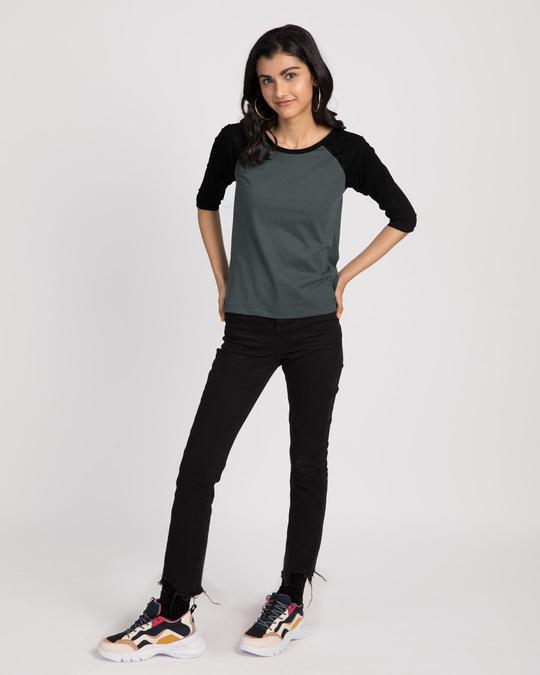 Shop Nimbus Grey-Jet Black 3/4th Sleeve Raglan T-Shirt-Full