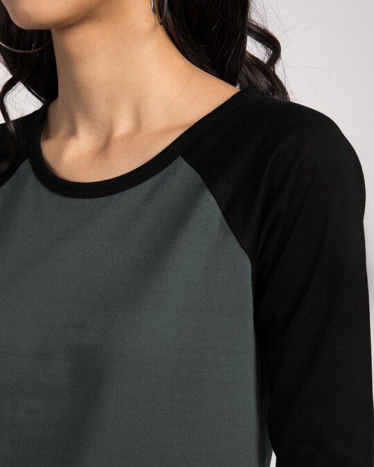 Shop Nimbus Grey-Jet Black 3/4th Sleeve Raglan T-Shirt
