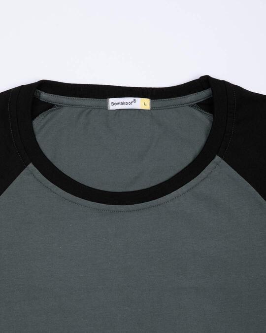 Shop Nimbus Grey-Jet Black Full Sleeve Raglan T-Shirt