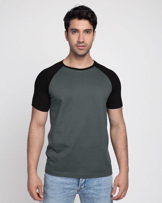 Shop Nimbus Grey-Jet Black Half Sleeve Raglan T-Shirt-Front