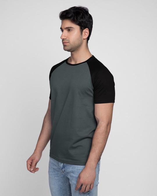 Shop Nimbus Grey-Jet Black Half Sleeve Raglan T-Shirt-Back