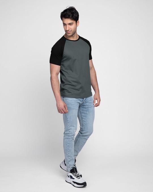 Shop Nimbus Grey-Jet Black Half Sleeve Raglan T-Shirt-Full