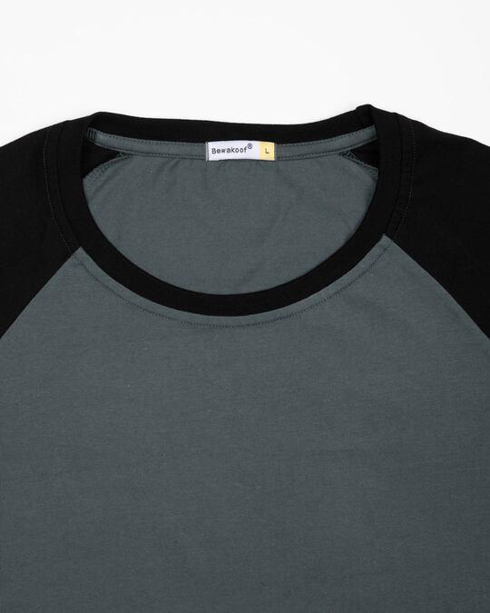 Shop Nimbus Grey-Jet Black Half Sleeve Raglan T-Shirt