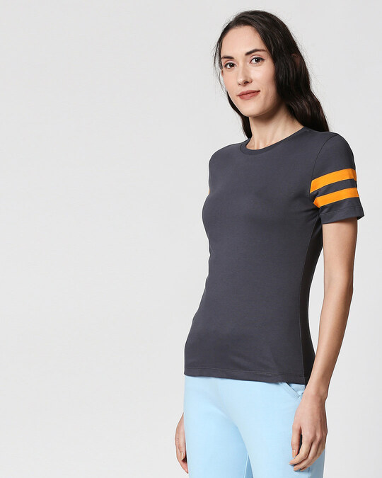 Shop Nimbus Grey-Neon Orange Double Tape Half Sleeves T-Shirt-Back