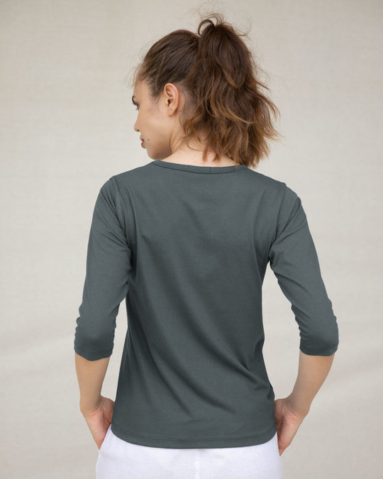Shop Nimbus Grey Round Neck 3/4th Sleeve T-Shirt-Full