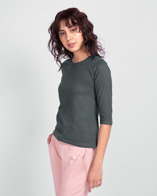 Shop Nimbus Grey Round Neck 3/4th Sleeve T-Shirt-Back
