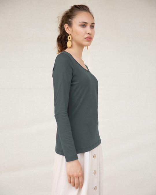 Shop Nimbus Grey Scoop Neck Full Sleeve T-Shirt-Back