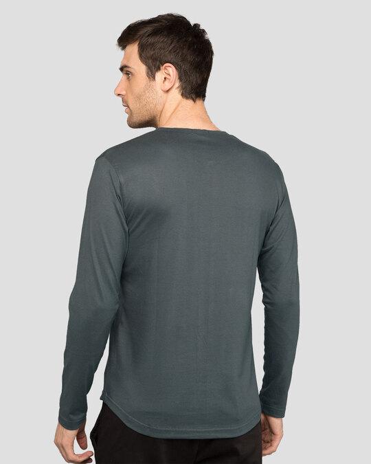 Shop Nimbus Grey Slit Neck Full Sleeve Henley T-shirt-Design