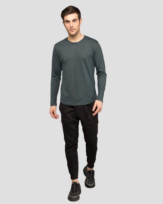 Shop Nimbus Grey Slit Neck Full Sleeve Henley T-shirt-Full