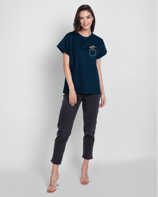 Shop Ninja Pocket Boyfriend T-Shirt Navy Blue-Full