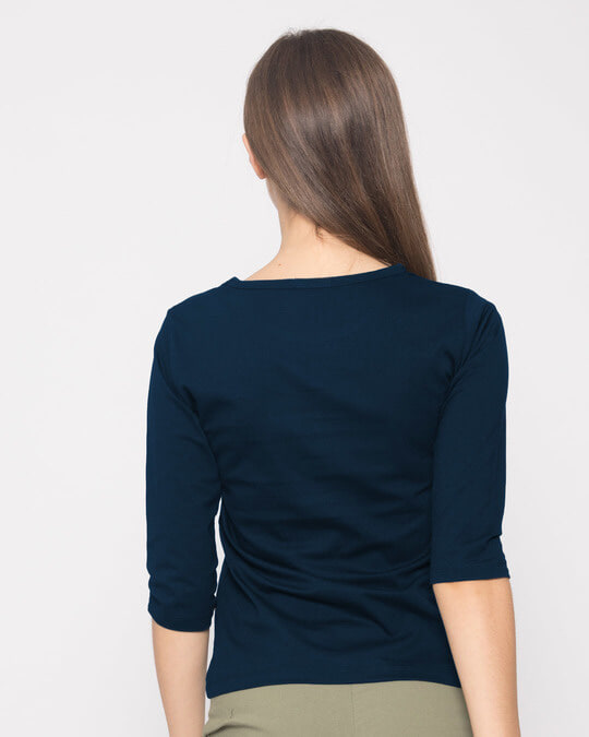 Shop Nirlajjam Round Neck 3/4th Sleeve T-Shirt-Full