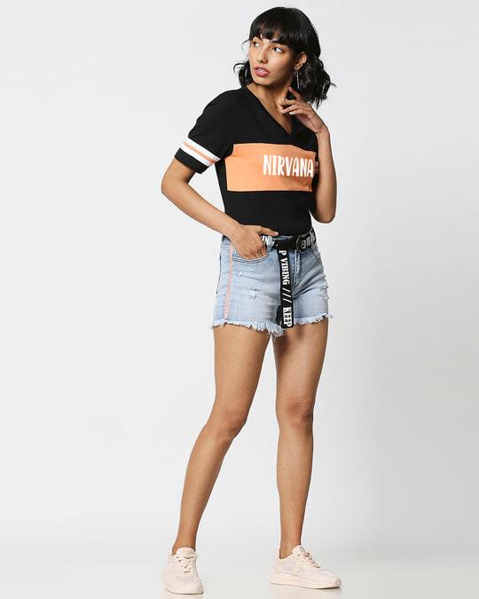 Shop Nirvana 2.0 V Neck Color Block Crop T-Shirt