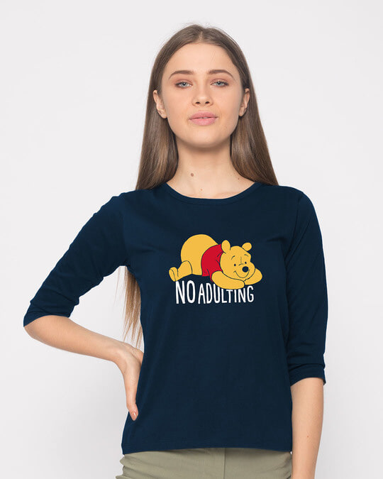 Shop No Adulting Round Neck 3/4th Sleeve T-Shirt (DL)-Front