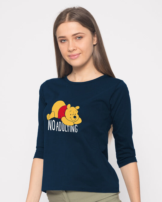 Shop No Adulting Round Neck 3/4th Sleeve T-Shirt (DL)-Back