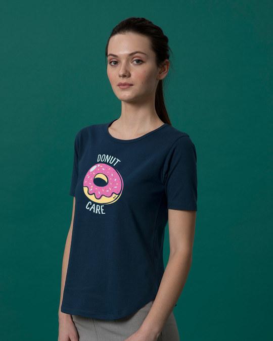 Shop No Care Basic Round Hem T-Shirt-Back
