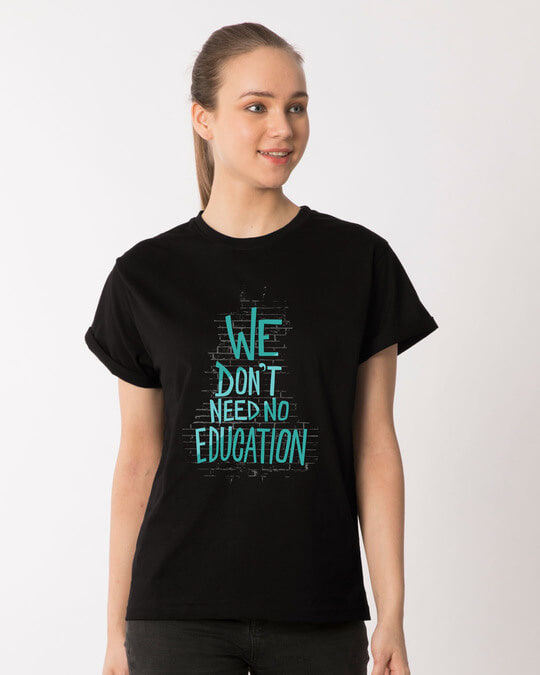 Shop No Education Boyfriend T-Shirt-Front