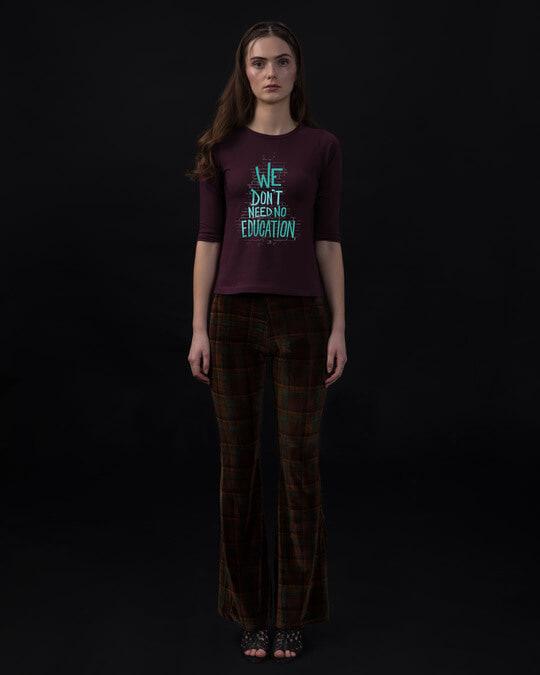 Shop No Education Round Neck 3/4th Sleeve T-Shirt-Design