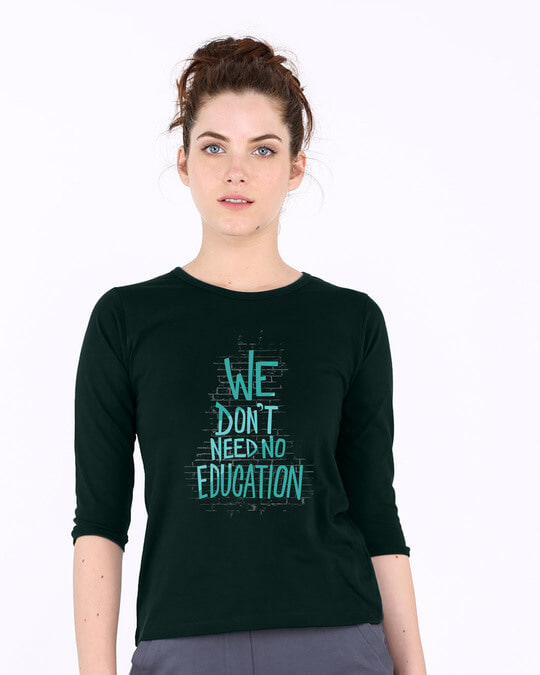 Shop No Education Round Neck 3/4th Sleeve T-Shirt-Front