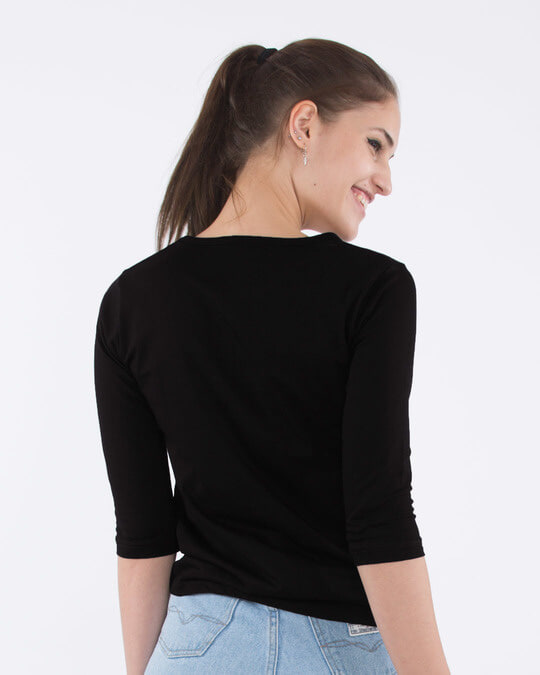 Shop No Ehsaan Round Neck 3/4th Sleeve T-Shirt-Back