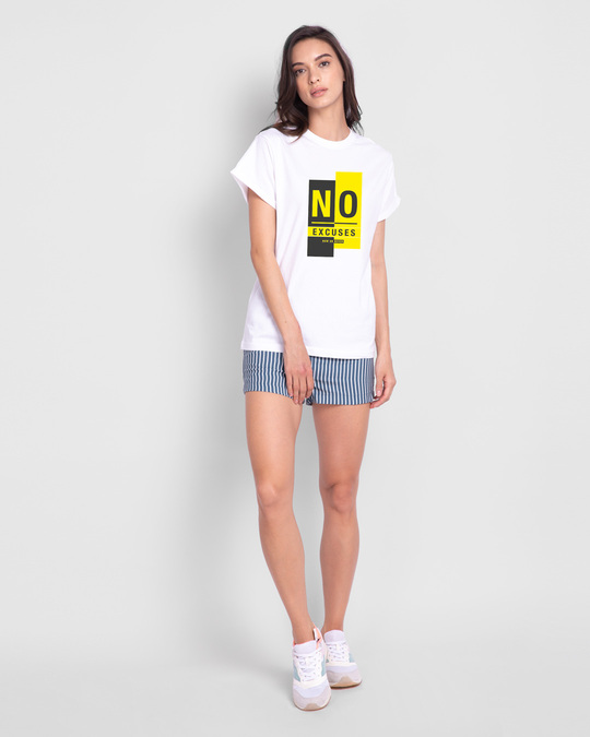 Shop No Excuses Block Boyfriend T-Shirt White-Full