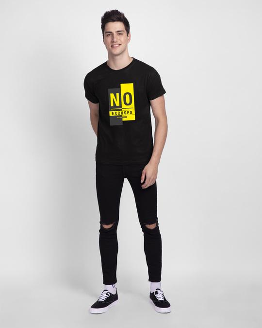 Shop No Excuses Block Half Sleeve T-Shirt Black-Design