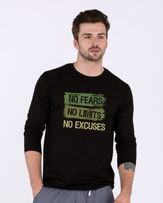 Shop No Fears No Excuses Full Sleeve T-Shirt-Front