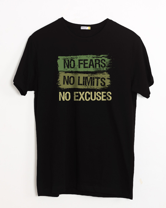 Shop No Fears No Excuses Half Sleeve T-Shirt-Front