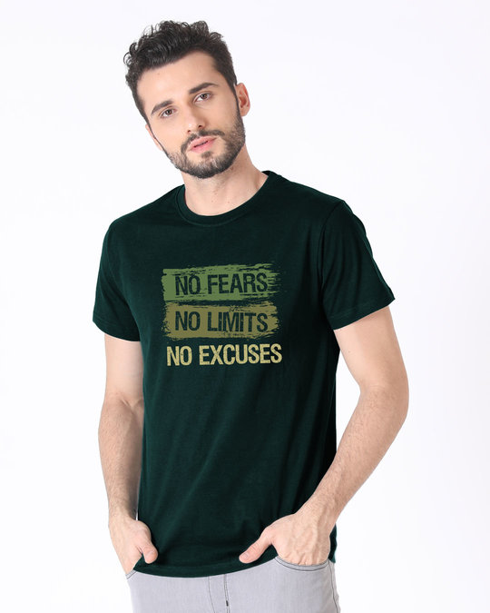 Shop No Fears No Excuses Half Sleeve T-Shirt-Full