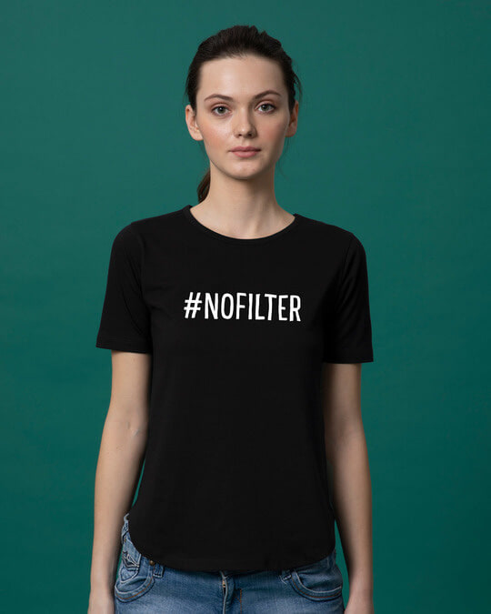 Shop No Filter Basic Round Hem T-Shirt-Front