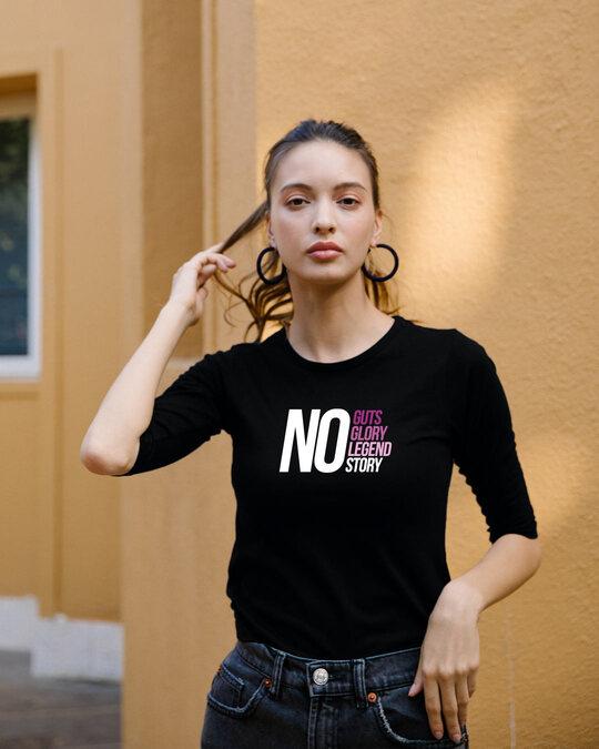 Shop No Guts Glory Round Neck 3/4 Sleeve T-Shirt Black-Front