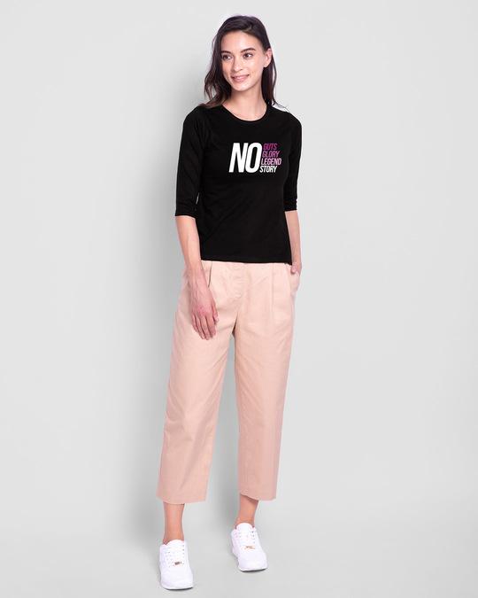 Shop No Guts Glory Round Neck 3/4 Sleeve T-Shirt Black