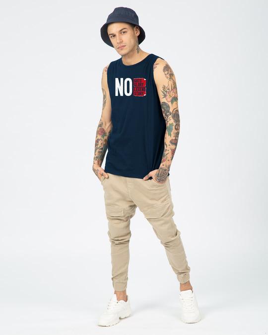 Shop No Legend, No Story  Round Neck Vest Navy Blue-Full