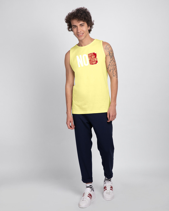 Shop No Legend, No Story Round Neck Vest Pastel Yellow-Full