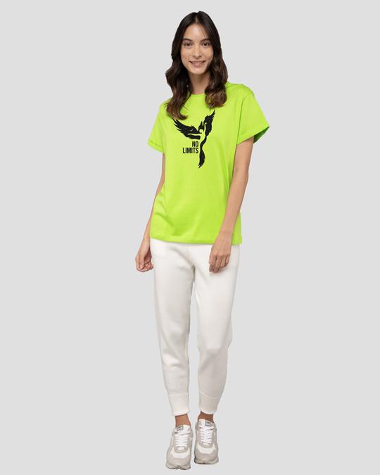 Shop No Limits To Fly Boyfriend T-Shirt Neon Green-Design