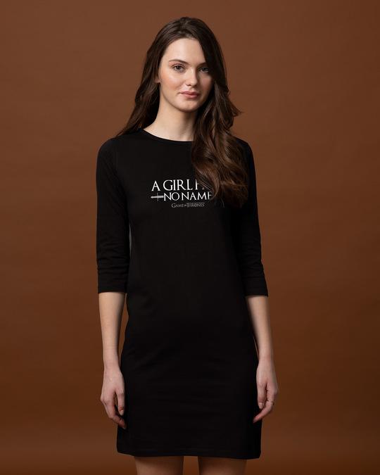 Shop No Name Boat Neck 3/4th Sleeve T-Shirt Dress (GTL)-Front